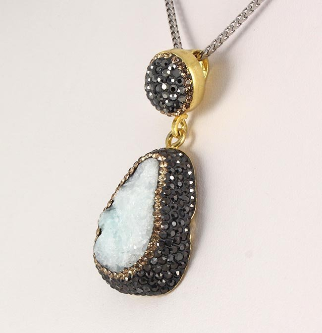 Raw Druzy Natural Stone Druse Victorian Look Pendant