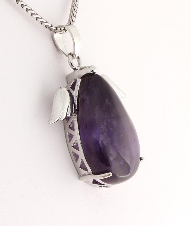 Natural Stone Amethyst Pear Pendant