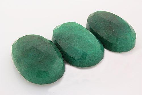 170.64ctw Faceted Loose Emerald Beryl Gemstone Lot of 3