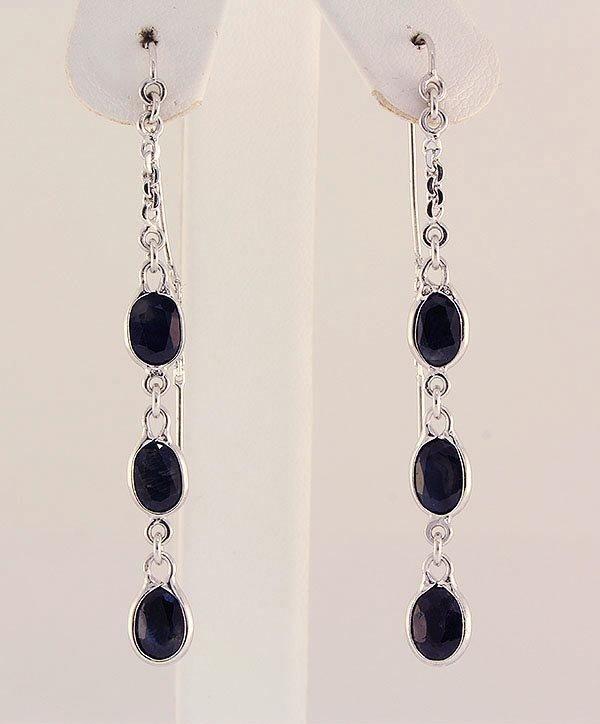Sterling Silver Drop Dangle 15.80ctw Sapphire Earring