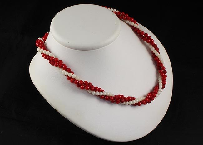 Vintage Pearl Coral Red & White Twisted Necklace