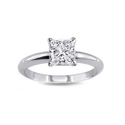 1.00 ct Princess cut Diamond Solitaire Ring, G-H, I