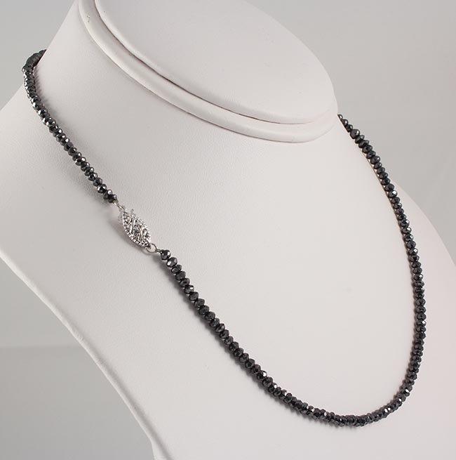 Black Diamond 31.56 ctw Necklace 14kt White Gold Lock