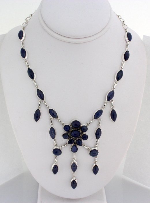 Gorgeous 367.00ctw Tanzanite Cabochons 0.925 Necklace