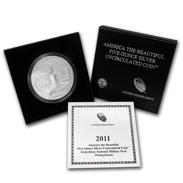 2011-P 5 oz Silver ATB Gettysburg (w/box & CoA)