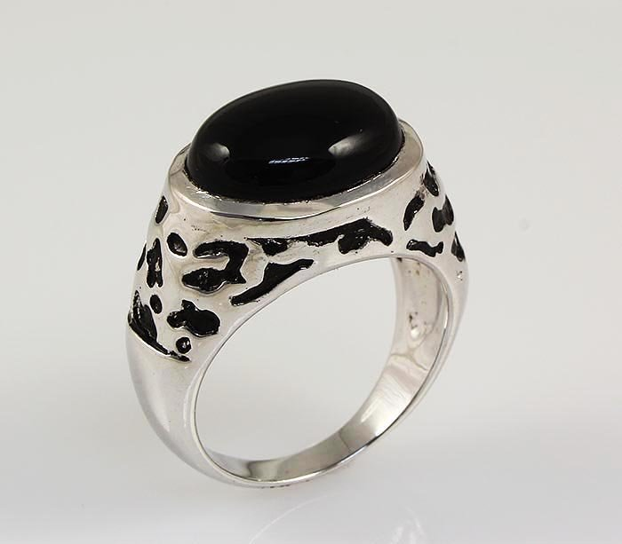 Cabochon Black Onyx 2.55ctw Sterling Silver Oval Ring 1