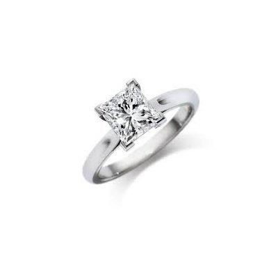 0.75 ct Princess cut Diamond Solitaire Ring, G-H, SI2