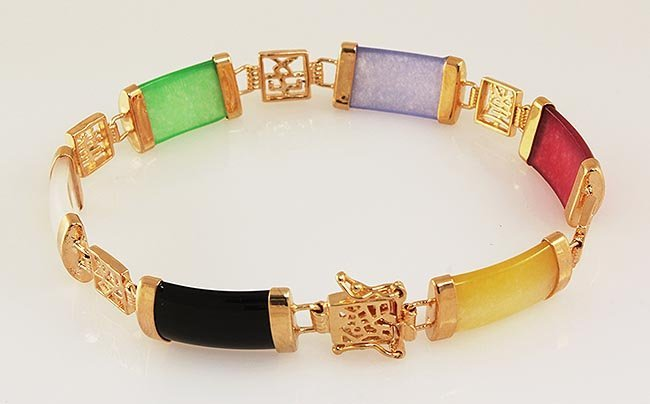 MULTI-COLOR 9.65CTW JADE GOLD PLATED SILVER BRACELET