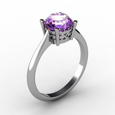 Amethyst 1.30 ctw Ring 14kt White Gold