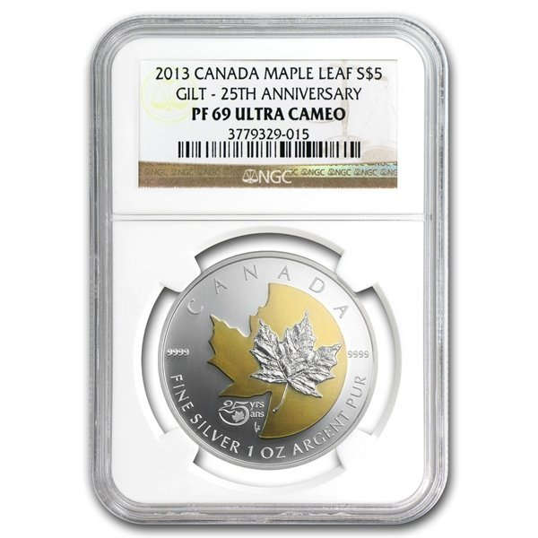 2013 Silver Can. 25th Anniv. of the Maple -Gilded PF-69