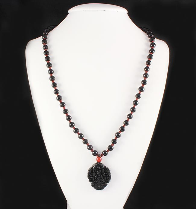 Jade Guanyin Buddha Necklace with Black Agate Beads