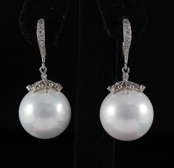 14.77g White Color Pearls Sterling Silver Huggie Earrin