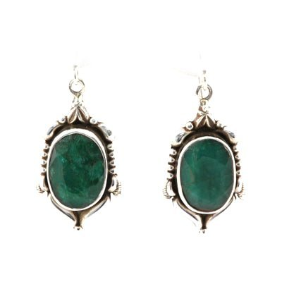 44ctw Natural Emerald Silver Hook Earring