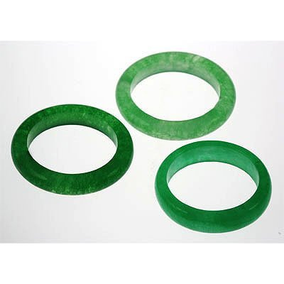 Natural Simple Green Jade 38.35ctw Band Ring Lot of 3