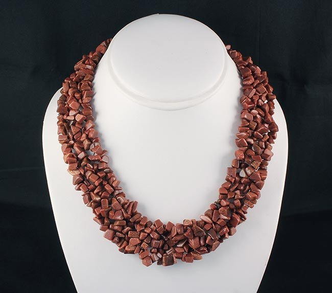 Woven Multi-Strand Natural Chip Beads Necklace