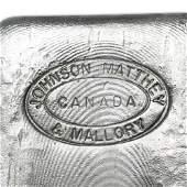 100 oz Johnson Matthey & Mallory Silver Bar (Maple
