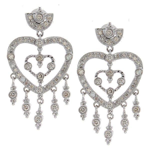 14K White Gold 0.81ctw Diamond Earrings
