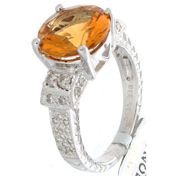 18K White Gold 3.73ctw Citrine & Diamond Ring