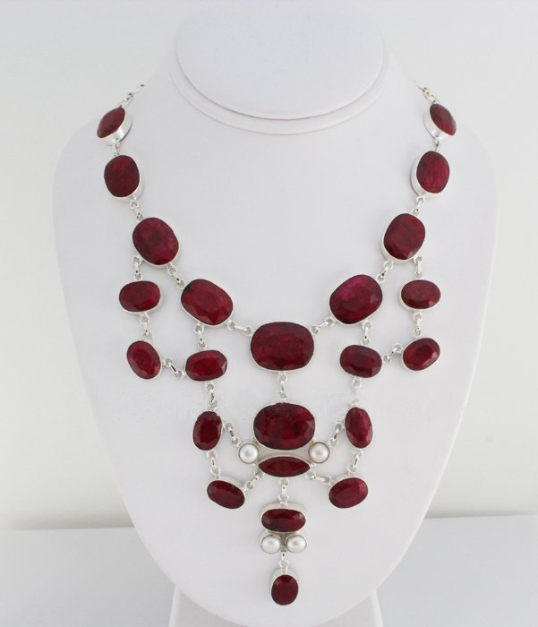 Lovely 533.50ctw Ruby Beryl Sterling Silver Necklace