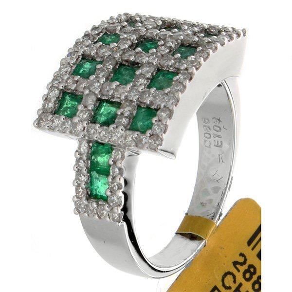 18K White Gold 1.95ctw Emerald & Diamond Ring