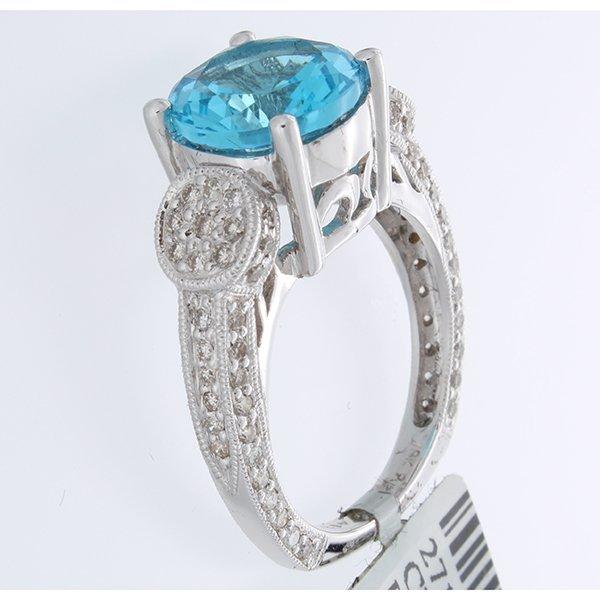 18K White Gold 4.80ctw Topaz & Diamond Ring