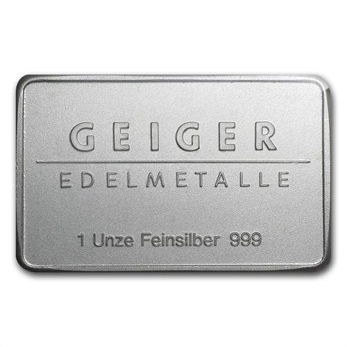 1 oz Geiger Silver Bar .999 Fine