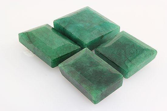 154.73ctw Faceted Loose Emerald Beryl Gemstone Lot of 4