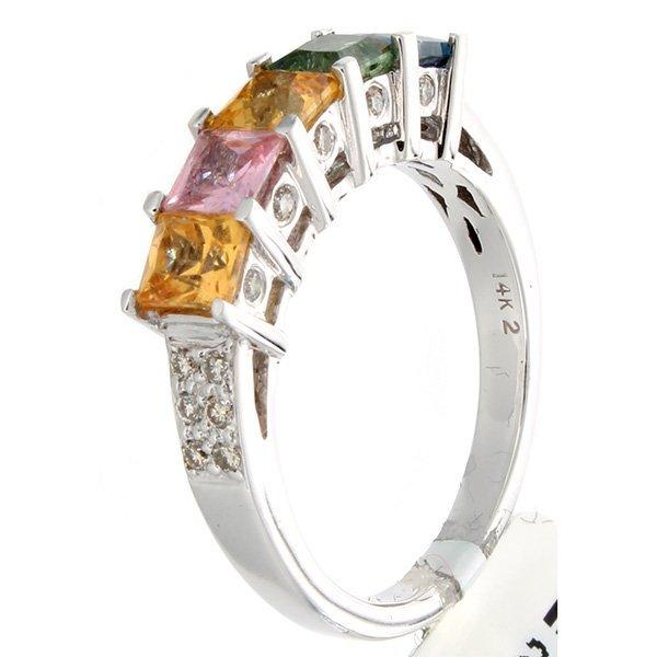 14K White Gold 2.67ctw Rainbow Sapphire & Diamond Ring