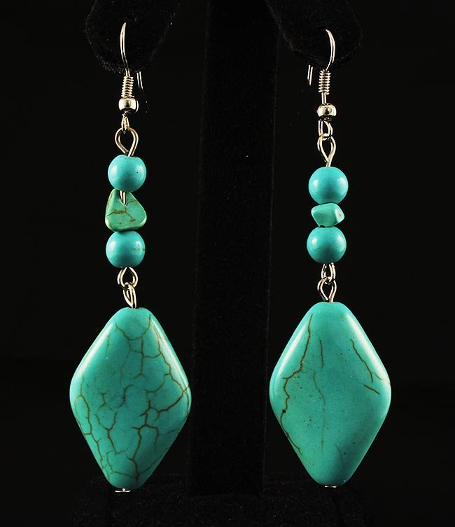 NATURAL 53.76CTW TURQUOISE DANGLING SILVER EARRING