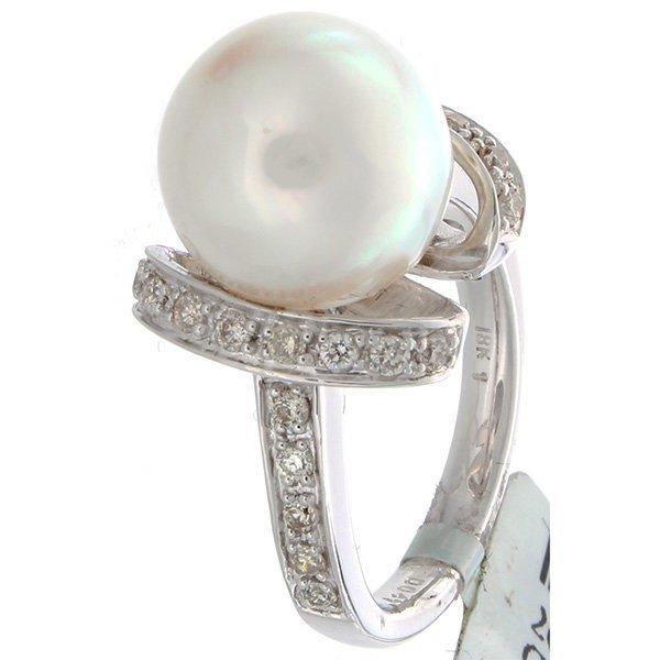 18K White Gold 11.66ctw Pearl & Diamond Ring