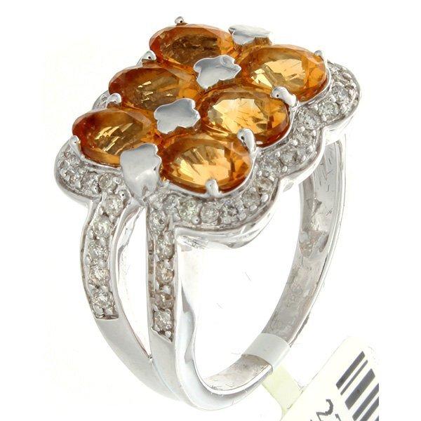 14K White Gold 3.12ctw Citrine & Diamond Ring