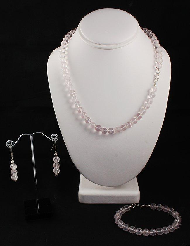 Excellent Round Cut Rose Quartz Gemstone Necklace, Brac