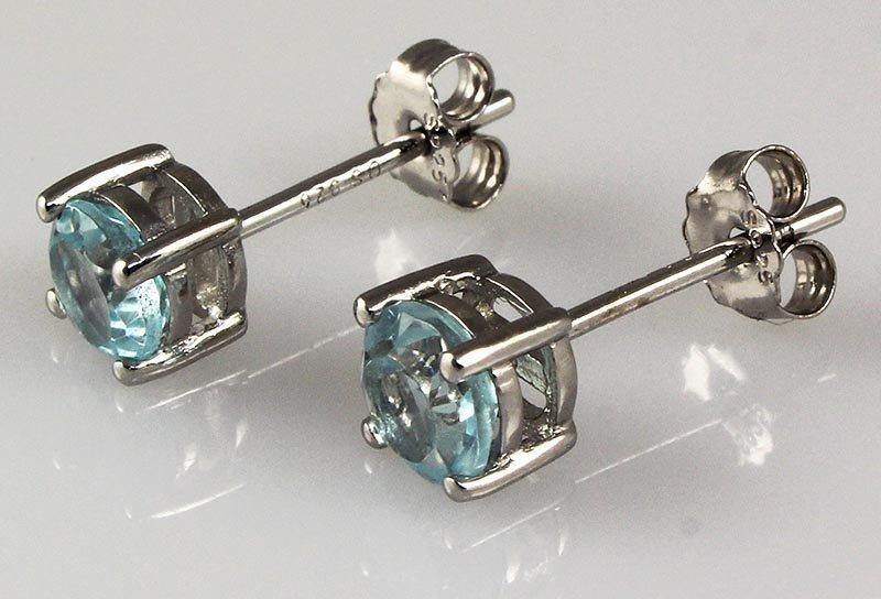 Aqua Marine Gemstone 0.90ctw Silver Stud Earring 0.79g