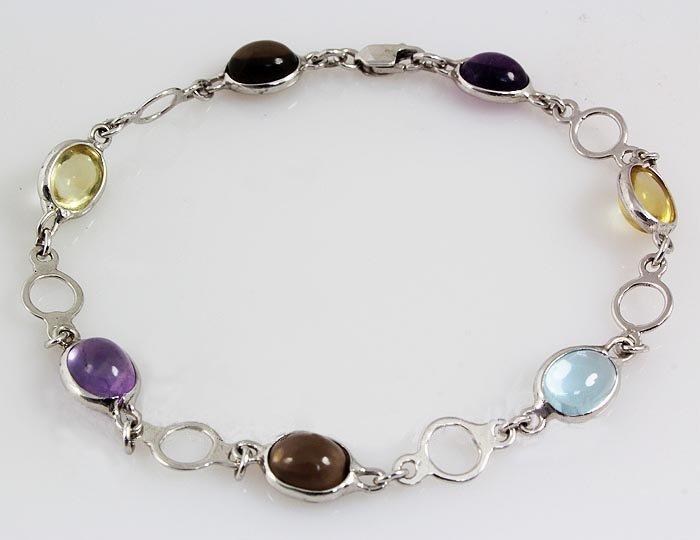 6.00CT Multi Precious Gemstone Silver Bezel Bracelet 3.