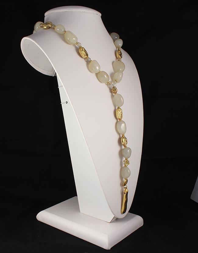 Natural Stone Handmade White Quartz Necklace