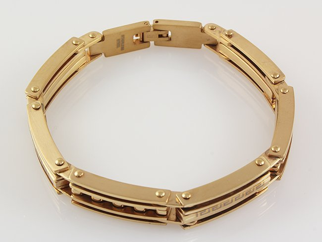 """Mens 8.50"""" Yellow Gold Plated Stainless Steel Bracelet"""