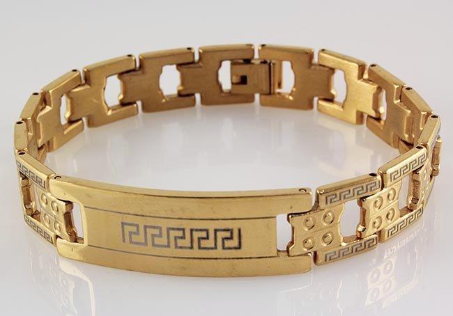 """Men's Electroplated Link Gold Bracelet 8 3/4"""""""