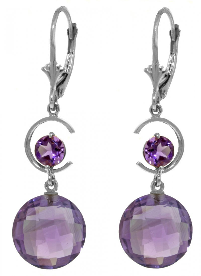 New 14KT White Gold 11.6 ctw Amethyst Earrings