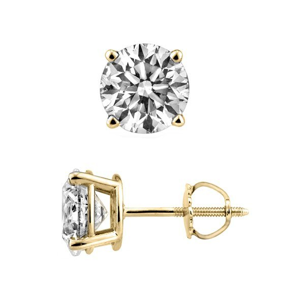 Natural 2.0ct Round Brilliant cut Diamond Stud Earrings