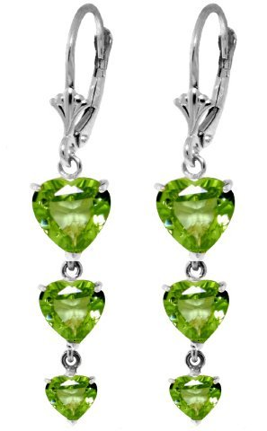 New 14KT White Gold 6 ctw Peridot Earrings