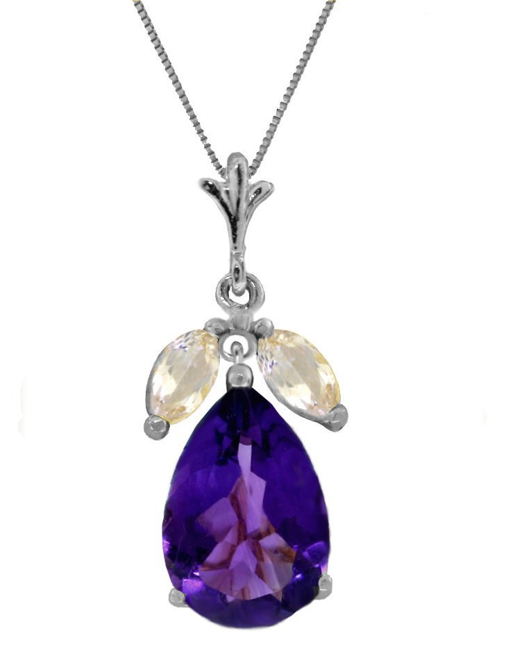 New 14KT White Gold 6.5 ctw Amethyst & White Topaz