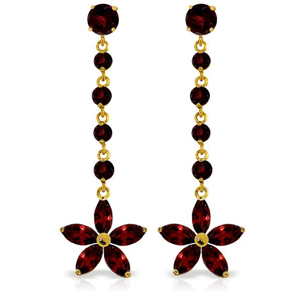 New 14KT Yellow Gold 4.8 ctw Garnet Earrings