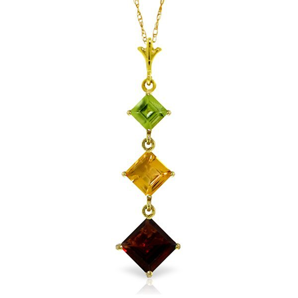 New 14KT Yellow Gold 2.4 ctw Garnet, Citrine & Peridot