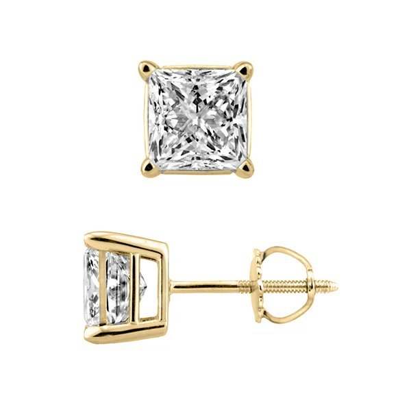Natural 2.0ct Princess cut Diamond Stud Earrings 18K