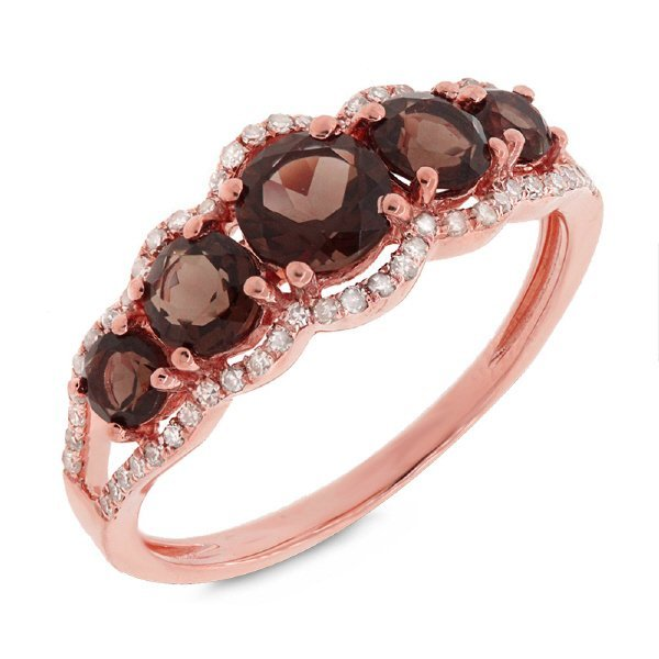 New 14KT Rose Gold 1.28 ctw Diamond & Smokey Topaz Ring