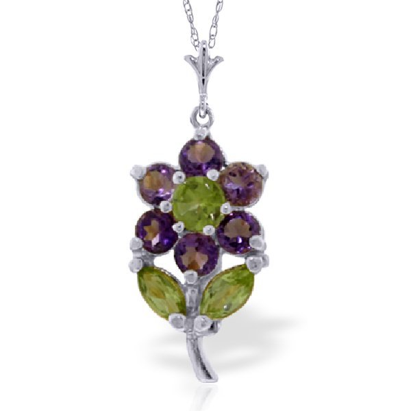 New 14KT White Gold 1.06 ctw Amethyst & Peridot