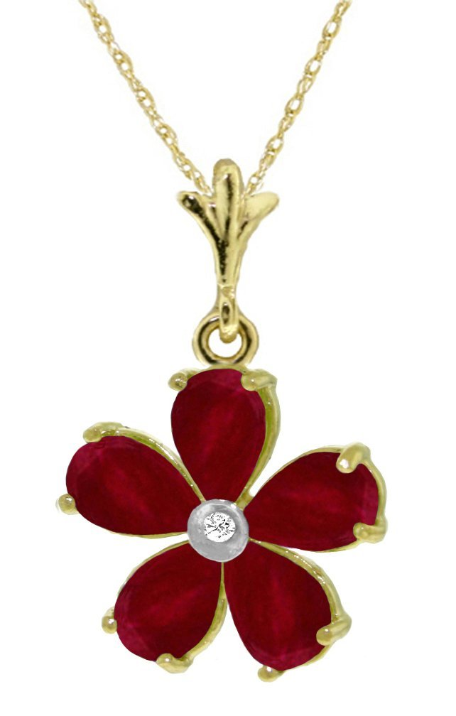 New 14KT Yellow Gold 2.22 ctw Ruby & Diamond Necklace