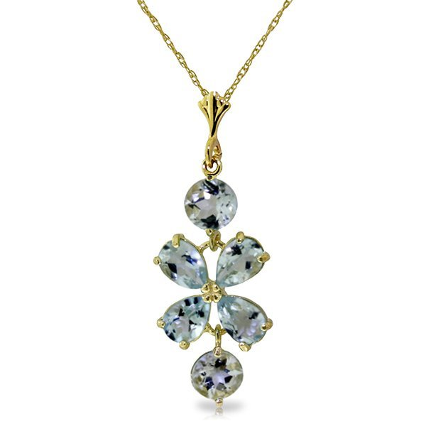 New 14KT Yellow Gold 3.15 ctw Aquamarine Necklace