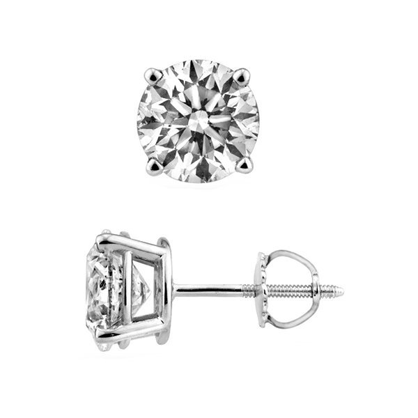 Natural 1.50ct Round Brilliant cut Diamond Stud