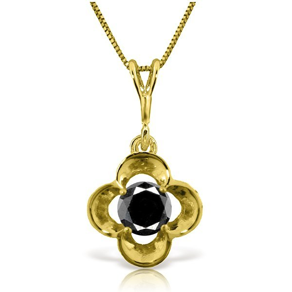 New 14KT Yellow Gold 0.50 ctw Black Diamond Necklace
